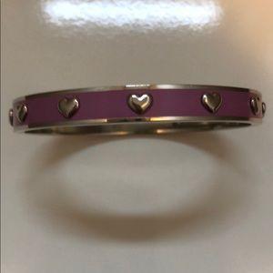Coach Dusty Pink Enamel Silver Heart Bracelet